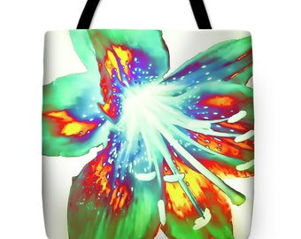 Rainbow Lily Tote Bag,Tie Dye Design,Floral,Designer Bag,Beach Bag,Shoulder Bag,13x13 16x16 18x18,Boho,Shabby Chic,Fashion Flower Bag,Hippie
