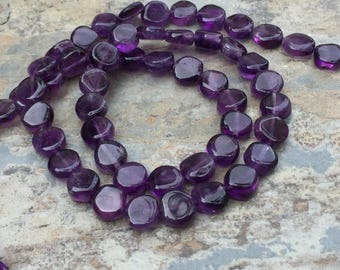 Amethyst Coin Beads, Smooth Coin Beads, Natural Amethyst, 7mm approx, 14.5 inch strand