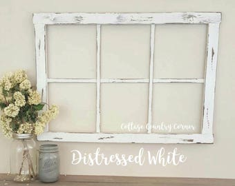 Window Frame - 6 Pane Faux Window Frame - Window - Rustic Window - Antique Window Frame - Wall Decor - Home Decor - Mantel Decor