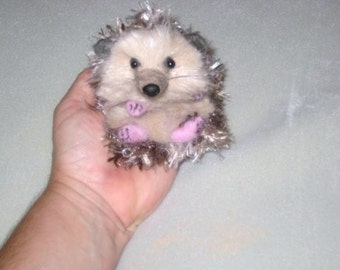 Needle Felted Animal Miniature Hedgehog One of a kind handmade Sculpture by Fiber Artist GERRY Poseable
