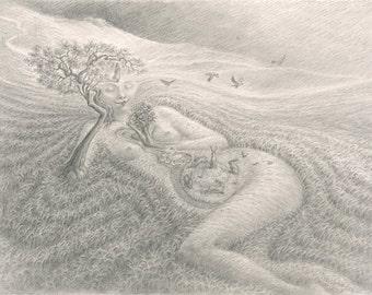 Moorland maiden- A4 Fine Art print by Virginia Lee