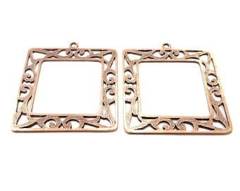 2 Copper Pendant Antique Copper Pendant Antique Copper Plated Metal (46mm) G11527