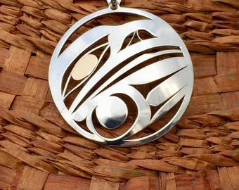 """Sterling Silver Raven/Crow Pendant with 18 karat Gold Eye, pendant is 1-1/2"""" approx size"""