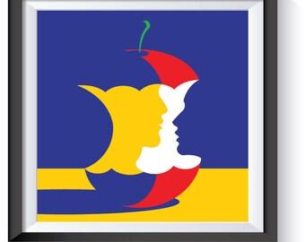 "Pop Art   ""Love Apple"" Digital Print Download"