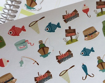 Planner Stickers Gone Fishing Stickers,  Fishing Stickers Fits Erin Condren Planner Plum Paper Vacation Stickers