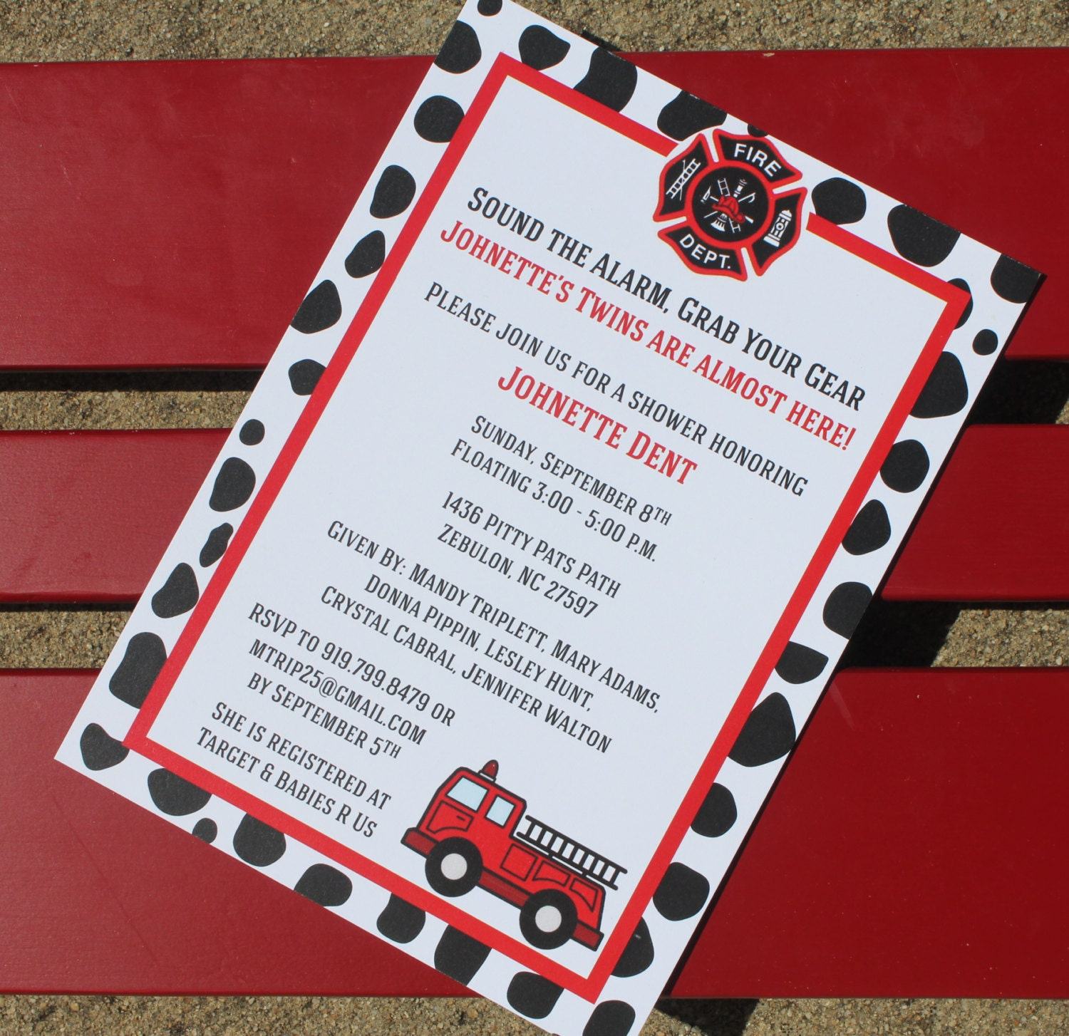 Fire Truck Themed Baby Shower Invitation Fire Truck Birthday