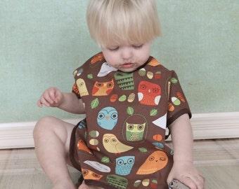 Toddler bib, owl toddler bib, long sleeve bib, MightyBib, Bapron, birthday, smash cake, large bib, clothing cover, reversible, absorbant