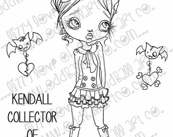INSTANT DOWNLOAD Digi Stamp Digital Image Creepy Cute Big Eye Girl Kendall Collector of Hearts Image No.131 & 131B by Lizzy Love