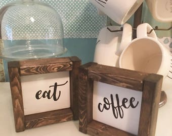 Coffee sign, farmhouse wood sign, kitchen decor, coffee bar sign, rustic sign, hand painted sign, coffee lover gift, kitchen wall art