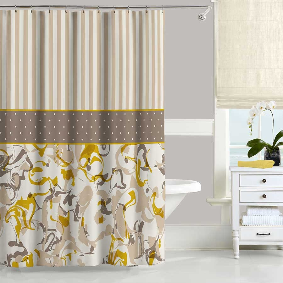 Mustard yellow shower curtain brown shower curtain beige for Yellow and brown bathroom decor