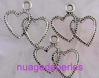 3 pendants double Tibetan silver heart