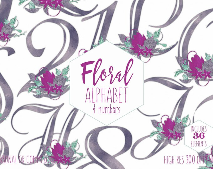 PURPLE FLORAL ALPHABET Clipart for Commercial Use Foil Letters & Numbers Clip Art Wedding Monograms Watercolor Flowers Font Digital Graphics