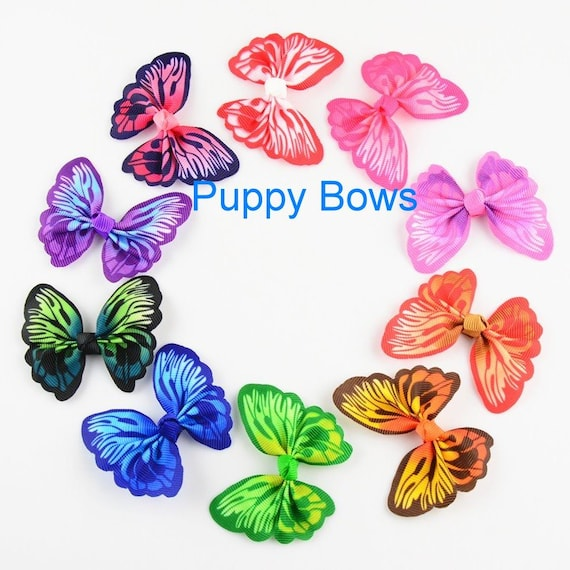 Puppy Bows ~  BACK IN STOCK! Vibrant multicolor butterfly pet dog hair clip barrette or latex bands ~Usa seller  (fb39)