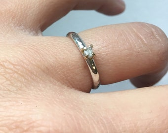 Raw diamond solitaire sterling silver ring with 18ct gold claws
