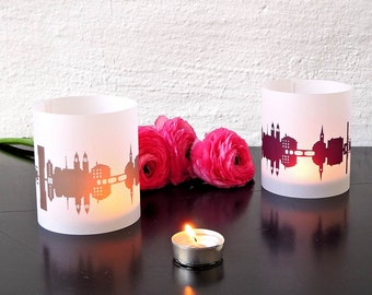 Shade ZURICH skyline lantern, Zurich city light, 2 Tablelight in fume and plum, for Zurich Lovers, giftidea housewarming party, for moving