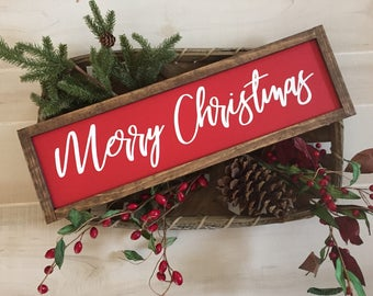 Merry Christmas wooden sign / holiday sign / home decor / mantel sign / wall decor / farmhouse sign