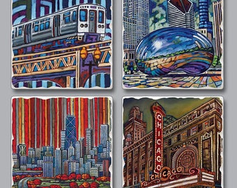 Chicago coasters, Chicago coaster set, Chicago landmarks, stone coasters, Chicago gift