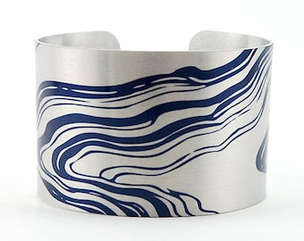Hokusai Water - Aluminum Cuff Bracelet - Boston Museum of Fine Arts - Photography - Handmade - Unique Gift - Wearable Art!