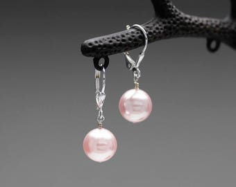 Swarovski Elements 10mm Pearl With Sterling Silver Lever-back Dangle Earrings Classic earrings Gift for her Gift for mom