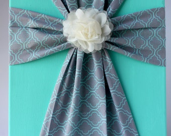 Handmade Fabric Cross Canvas Wall Hanging Turquoise and Gray
