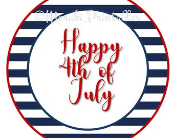 4th of July Printable Party Digital Files Toppers Cupcake Tags Instant Download Thank you Favors Supplies Independence day EEUU