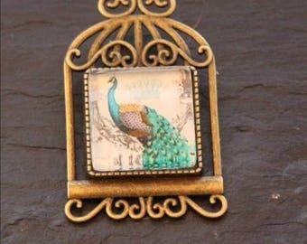 Peacock bird brooch