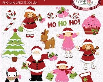 50%OFF Christmas clipart, winter clipart, Santa clipart, skating clipart, penguin clipart, Christmas kids clipart, Christmas bells clip