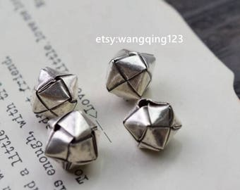 4 pcs sterling silver quilted square cube spacer beads bead spacers 6mm