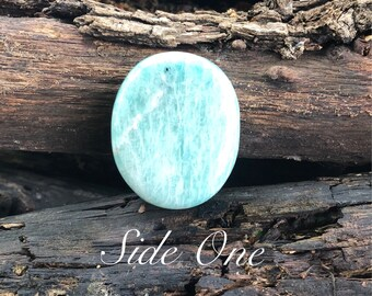 Beautiful Large Amazonite Palm Stone ~ Throat Chakra ~ Calming ~ Meditation ~ Crystal Grids