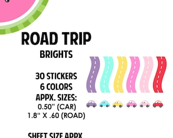 Color Road Trip Sticker | 30 Kiss-Cut Stickers | Road Trip, Vacation, Day Trip | CA168 |