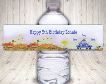 Little Blue Truck, Water Bottle Label, Blue Truck Party, Blue Truck Birthday, Little Blue Party, Blue Truck Printable, Blue Truck Favors