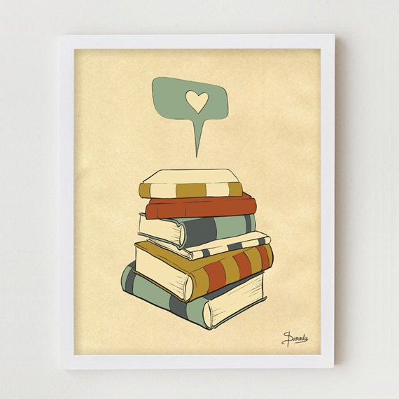Book Print Art 11x14 Books Poster Wall Decor Book Reading