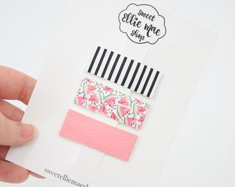 B&W stripe, Watermelon, Blush | Faux Leather and Glitter Snap Clips