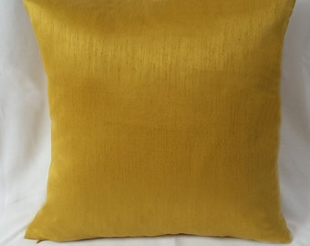 Art silk Saffron yellow cushion  cover. Deceretive cushion cover.   Mustard yellow pillow 20inch On discount for set of 2 covers