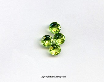 AAA 5 mm Natural Semi Precious Faceted Round Brilliant Pakistan Peridot For One