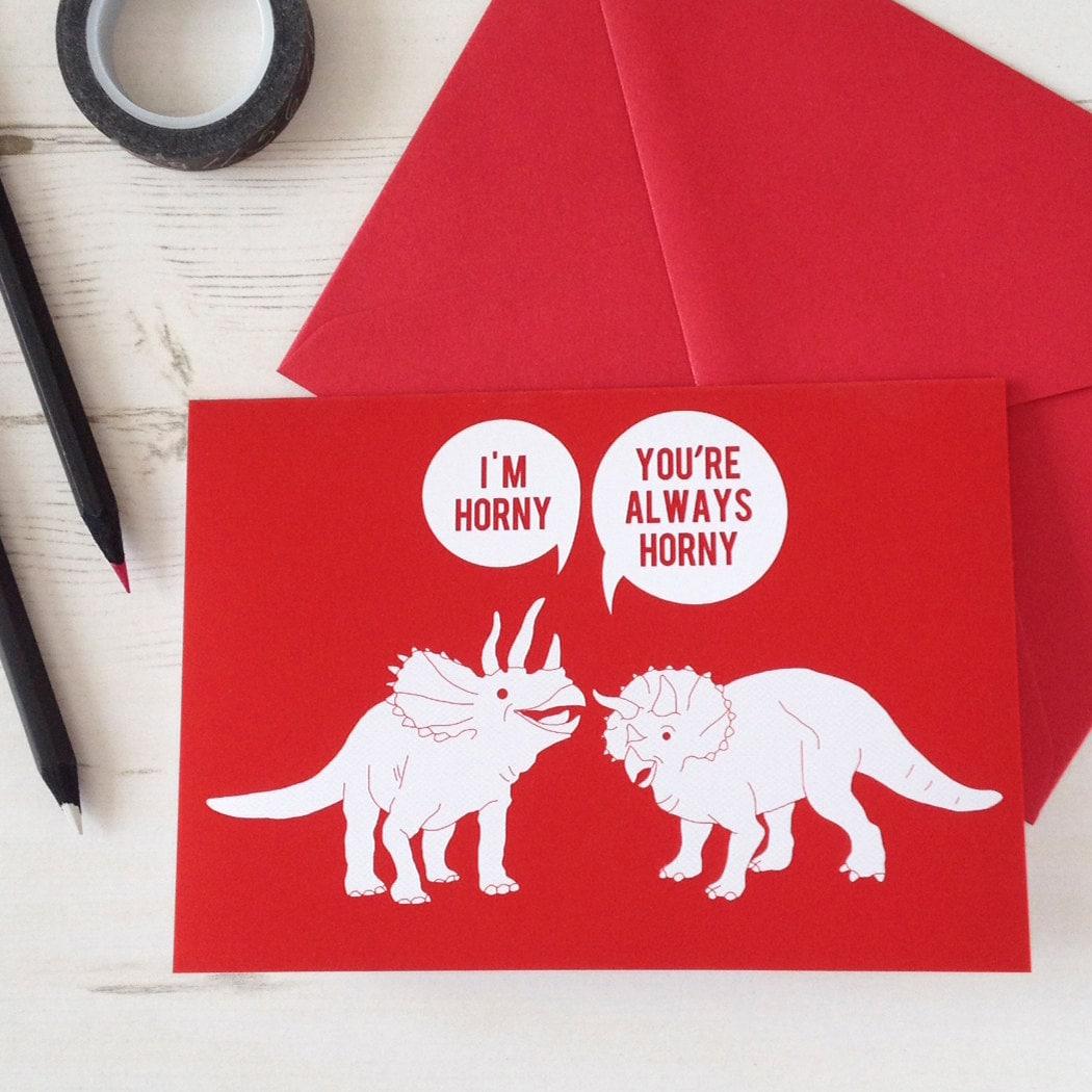 Funny Valentines Card Horny Dinosaurs Naughty