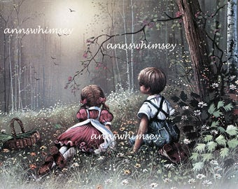 "Art Print ""Wonders of Childhood"" Restored Vintage  Art Child's Room #554"
