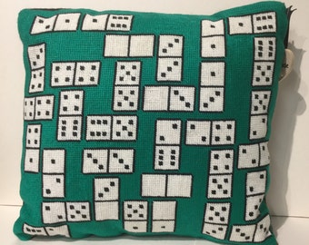 Domino needlepoint cushion, pillow, unique design, games, hand made