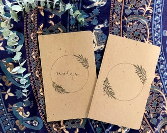 """Custom Hand Lettered Journal made from 100% recycled materials - 5""""x8"""" - College Gift, Calligraphy, Notes, Personalized Gift, Custom Gift"""