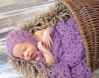 PATTERN Mohair Bonnet with Wrap - Newborn Only - Crochet - Lacey