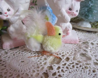 Vintage Spun Cotton Chenille Chick with-Bead Eyes-Wire Feet-Made in Japan