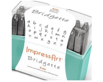 Larger Size 4mm ImpressArt Bridgette Lowercase Metal Stamp Set, Purchase Bridgette Alphabet Set Alone or with Brass Hammer and Bench Block