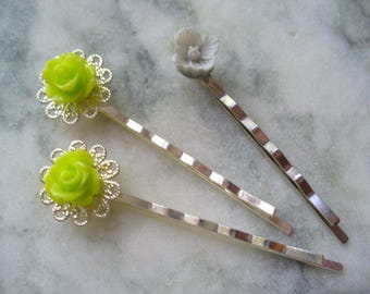 Celery Green Rose and Gray Flower, Silver Filigree Hair Pins, Hair Accessories, Bobby Pin, Weddings, Bridesmaids, Beach Wedding, Flower Girl