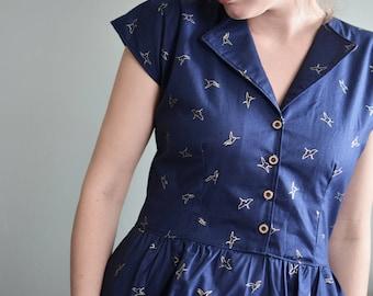 SuperMarket Dress / Day Dress / 1950's dress /  Summer Dress / Retro Dress / Vintage Dress / Long Dress / Navy Dress / Short Sleeve Dress