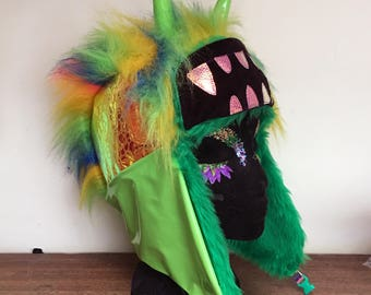 Mohawk Cyber punk Rainbow Monster Hat, Trapper Hat, Fur lined Winter hat By GingerFace