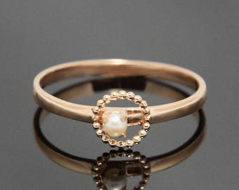 Solitaire ring, Pearl ring, Minimalist ring, Delicate ring, Dainty ring, Rose gold ring, White pearl ring, Gold ring for her,June birthstone
