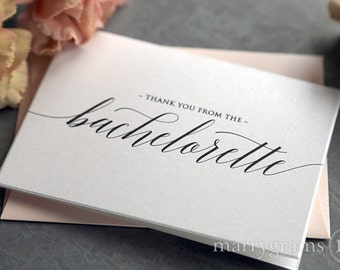 Bachelorette Party Thank You Card- Engagement, Bridal Shower or Bachelorette Thank You Cards, Chic Cute Future Mrs. Notes CS13 (Set of 25)