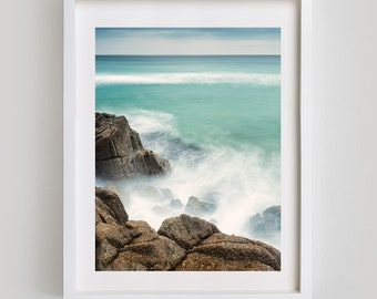 FRAMED PRINT: Call of the Sea, Porthcurno, Cornwall. Long exposure ocean photograph