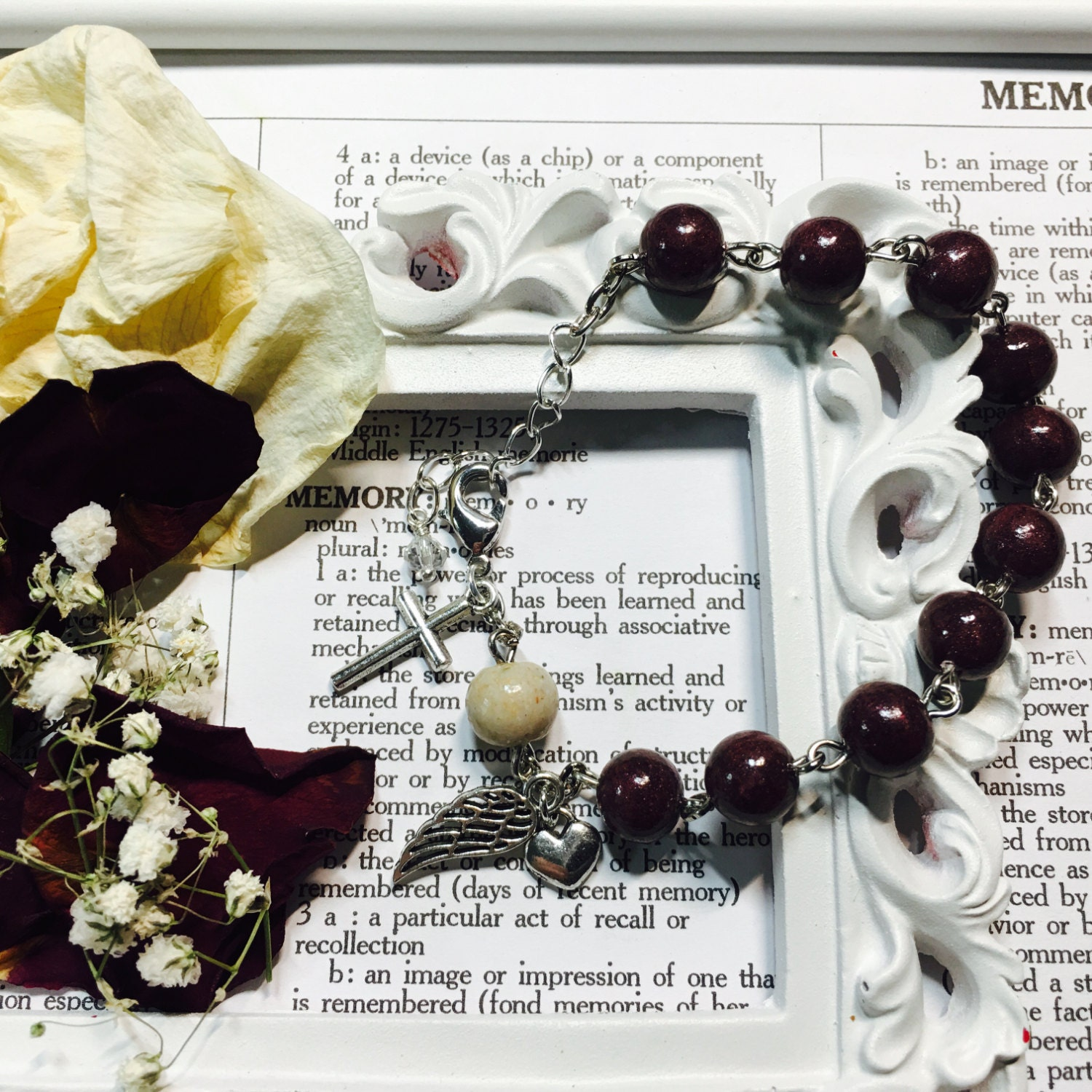 Memorial flower rosary bracelet chaplet one decade rosary zoom izmirmasajfo Image collections