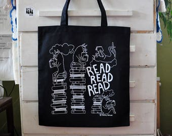 Tote Bag - Read Read Read Book Bag Market Bag Dog Screen Printed